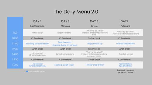 style italiano styleitaliano courses daily menu 2 program